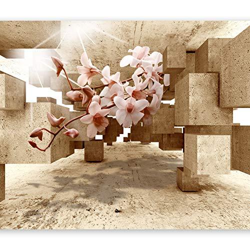 murando Fototapete 3d Effekt 350x256 cm Vlies Tapeten Wandtapete XXL Moderne Wanddeko Design Wand Dekoration Wohnzimmer Schlafzimmer Büro Flur optische Täuschung Illusion Blumen Orchidee b-C-0029-a-d