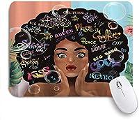 マウスパッド アフリカ系アメリカ人の女の子フェミニンな女性女性女性アートプリント ゲーミング オフィス最適 高級感 おしゃれ 防水 耐久性が良い 滑り止めゴム底 ゲーミングなど適用 用ノートブックコンピュータマウスマット