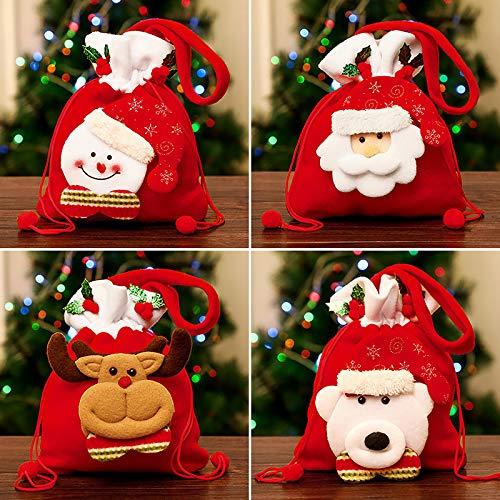 Yidaxing Sacchetto di Natale, 4 Pezzi Sacchetto della Caramella con Corda, Pupazzo di Neve Babbo Natale Alce Sacchetti da Regalo di Natale Sacchetto D'attaccatura