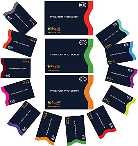 RFID Porta documenti, Set di 15 con codice a colori | 12x Custodie per carte di credito + 3x Custodie per Passaporto | Raccoglitore antifurto di ultima generazione (Blu scuro)