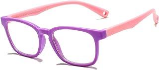AZORB Kids Blue Light Blocking Glasses TPEE Rubber Eyeglasses for Girls Boys Age 3-12 Anti Eyestrain(purple/pink)
