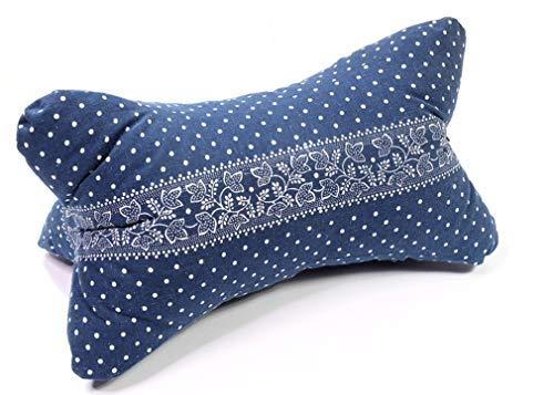 Lesekissen Bücherkissen Leseknochen Strandkissen Yogakissen Nackenkissen aus Blaudruck Bordüre von Beletage HM