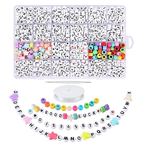 BOINN 1850 Piezas 4X7Mm Cuentas de Letras Blancas Redondas AcríLicas Coloridas Cuentas del Alfabeto para Hacer Joyas Pulseras Collares Llaveros