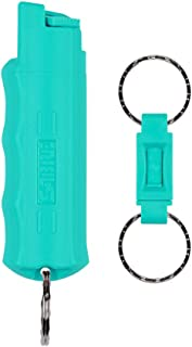 SABRE RED Pepper Spray Keychain with Quick Release for Easy Access – Max Police Strength OC Spray, Finger Grip for Accurate Aim, 10-Foot (3M) Range, 25 Bursts (5x Other Brands) – Practice Spray Option