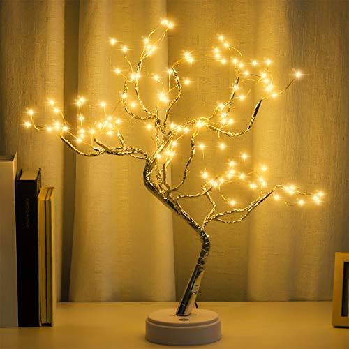"""20"""" Tabletop Bonsai Tree Light with 108 LED Copper Wire String Lights, DIY Artificial Tree Lamp, Battery/USB Operated, for Bedroom Desktop Christmas Party Indoor Decoration Lights (Warm White)"""