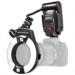 Impulsfoto TTL Makro Ringblitz (Leitzahl 14-46) Fuer alle Canon DSLR Kameras mit Blitzschuh (Fuer Objektive von 52mm – 77mm) - Meike MK-14EXT