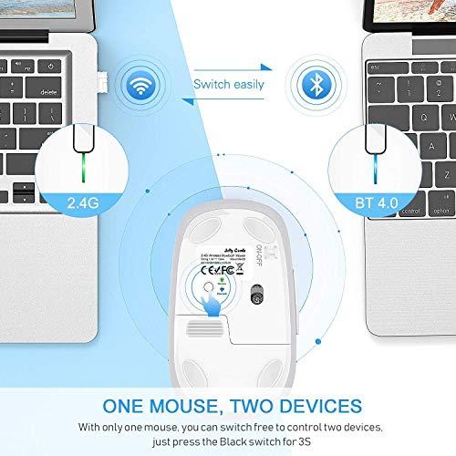Jelly Comb 2,4G Kabellose Maus und Bluetooth 4,0 Maus, Multi-Device Wireless Maus Ergonomische Funkmaus für Windows/MacOs/Android, 7 Tasten, Weiss und Silber