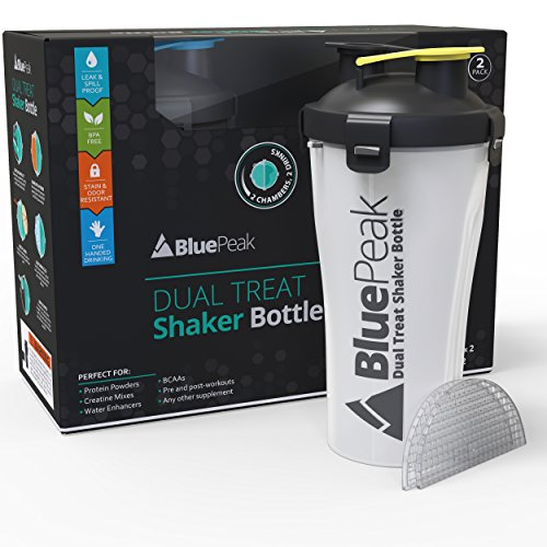 BluePeak Dual Treat Protein Shaker Bottle 28-Ounce, 2-Pack Hydra Cup. Mixing Grid Technology. Enjoy 2 Different Drinks Stored Independently in the same Bottle. BPA Free
