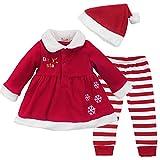 IEFIEL Conjuntos de Tres Piezas Navidad Reyes Fiesta Vestido + Pantalones Rayas + Gorro para Bebé Niña Disfraces Chaqueta Rojo 9-12 Meses