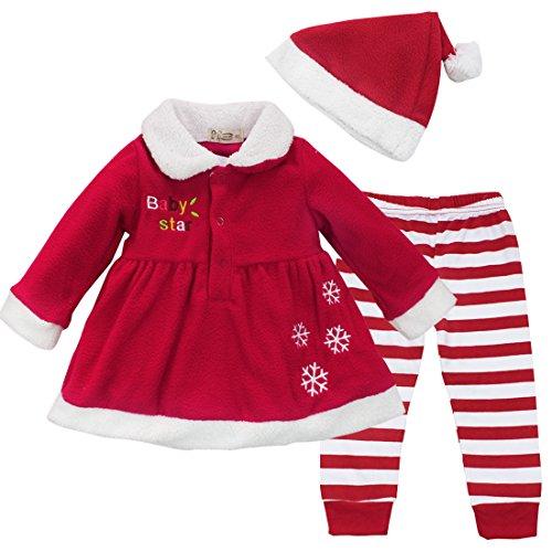 YiZYiF Cute Baby Mädchen Weihnachten Bekleidung Set Warm Fleece Top Pullover Weihnachten Kleid + Mütze Weihnachtskostüm Gr. 80 86 92 (74-80)