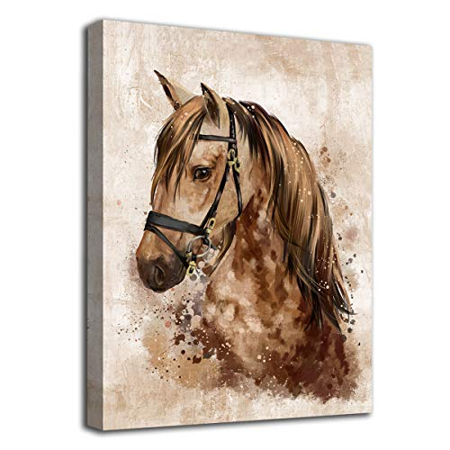 Abstract Wall Art Horse Canvas Pictures Watercolor Painting Prints Modern Abstract Animal Vintage Canvas Artwork Rustic Contemporary Wall Art Framed Ready to Hang 12' x 16'