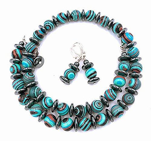 Schmuckset Halskette Ohrringe Malachitperlen geringelt türkis bunt schwarz, Gesamtlänge Halskette: ca. 47 cm, zzgl. VL