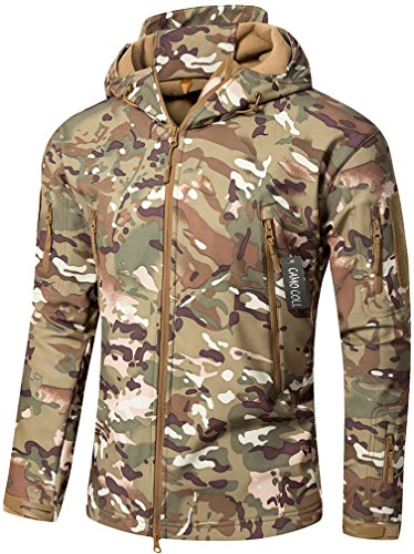 CAMO COLL Men's Outdoor Soft Shell Hooded Tactical Jacket (S, Army)