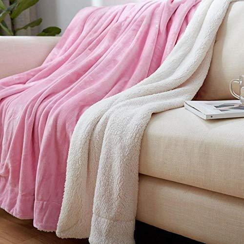Eastbride Mantas para Cama de Franela Reversible,Mantas de Invierno, Mantas de Lana de Coral, sábanas de Franela-Pink_100 * 120,Manta cálida y mullida para