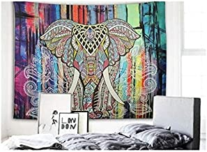 Elephant Tapestry Colored Printed Decorative Mandala Tapestry Indian150cmx200cm Boho Wall Carpet & Hangings