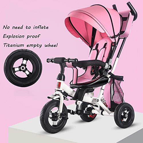 Triciclo Evolutivo 4 en 1 triciclo 6 meses a 5 años Cinturón de seguridad de 5 puntos Triciclos para niños Manija de empuje ajustable 360 y grado; Silla giratoria plegable Sol Canopy Kids Triciclo P