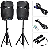 Suono 15' Dual Powered Speakers, 3000W 2-Way Portable Loud Speaker With Stands and Microphone (Active+Passive Speakers + Stands)