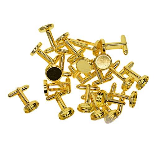 Baoblaze 20Pcs Blank Runde Manschettenknöpfe Rohlinge Für DIY Cabochon Schmuck - Golden