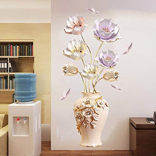 Zbzmm Muurstickers, tulpen, stereo, 3D-muursticker, voor slaapkamer, vaas, decoratie, extra groot, waterdicht, warm, zelfklevend