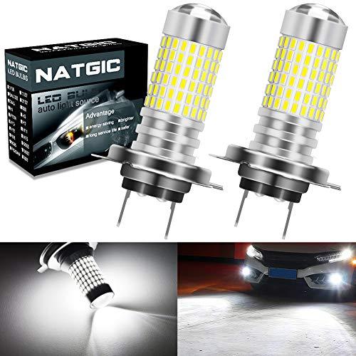NATGIC H7 Ampoules LED Anti-Brouillard Blanc xénon 3000LM 3014 SMD 144-EX avec projecteur à lentille pour feu antibrouillard extérieur, 12-24V (Lot de 2)