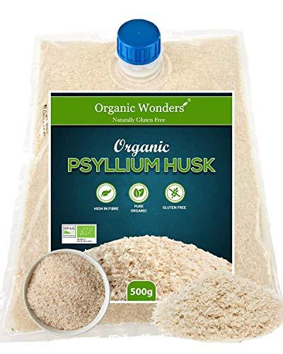 Organic Blond Psyllium Husk (500g) | Natural | Vegan | Vegetarian | Gluten Free | Easy-Pour Packaging by Organic Wonders