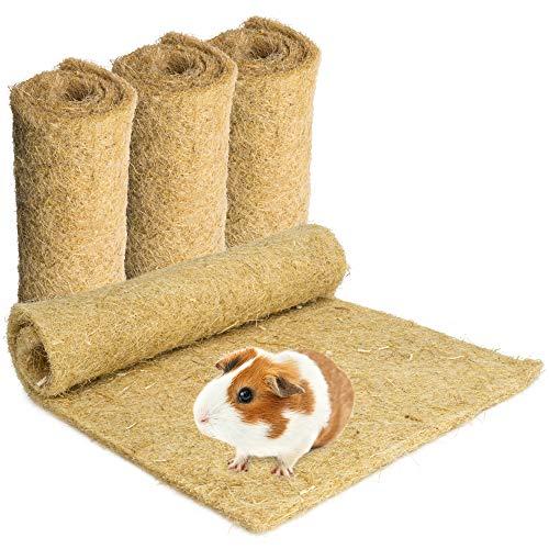 Nagerteppich aus 100% Hanf, 40 x 25cm, 5mm dick, 4er Pack (2,73 Euro/Stück), Hanfteppich für alle Arten Kleintiere, Hanfmatte Nagermatte Nager-Teppich