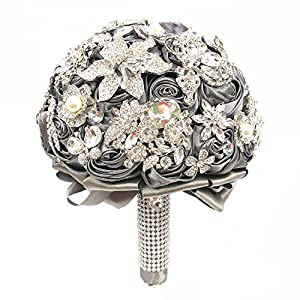 Abbie Home Handmade Luxury Wedding Bridal Rose Jewelry Bouquet-Advanced Sparkle Full Rhinestone and Glaring Pearl Covered Bride Brooch Bouquet-Grey