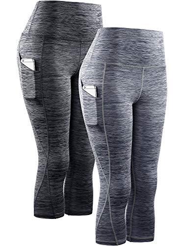 Neleus Women's 2 Pack Yoga Capris Running Leggings with Pockets,9034,Black,Grey,M,EU L