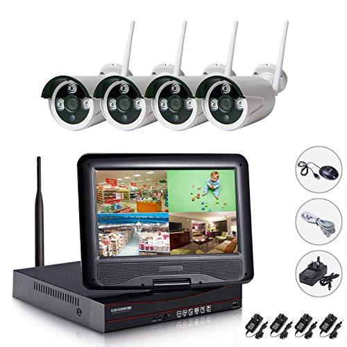 edssz 1080P Kit Videosorveglianza 10'Schermo LCD WiFi NVR 4 Canali 4 Wireless Telecamere di Sorveglianza 960P Videocamera Sorveglianza Eseterno, Visione Notturna, Motion Detection, P2P, IP66