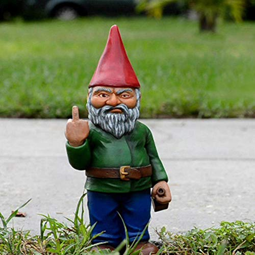Runsmooth 15cm Gartenzwerg Statue Ornament - The Go Away Gnomen - Lustige Garten Rasen Ornamente, Innen- oder Außendekorationen