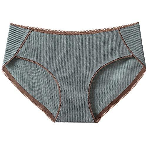 Fuduoduo Ropa Interior Femenina Sexy Bragas Abiertas,Nueva Ropa Interior de algodón para Mujer 4PCS-Gris Blue_M (39-49) kg,Bragas Clásicas Básicas Mujer