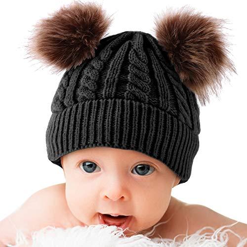 Yolispa Baby-Wintermütze, warm, mit zwei Bommeln, für Kleinkinder und Neugeborene, niedliches, weiches Mützchen, Skimütze Gr. L, Schwarz
