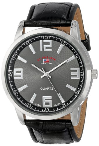 U.S. Polo Assn. classico US5165 quadrante nero cinturino in coccodrillo nero orologio