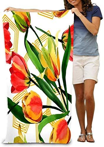 Toalla De Playa Tulipanes Amarillos Flor Botánica Floral Hoja De Primavera Salvaje Flor Silvestre Microfibra Secado Rápido Toalla De Baño Ligera para Senderismo Yoga Gimnasio Deportes Natación CAM