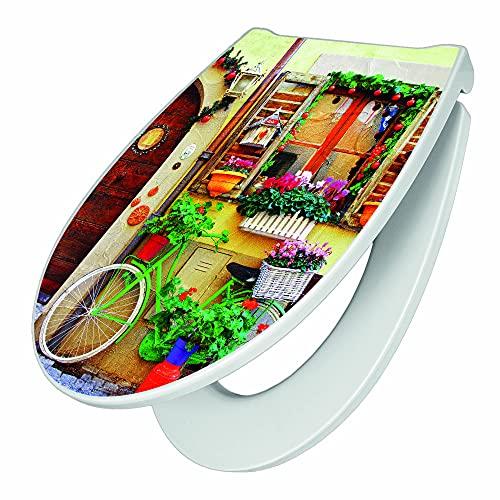 banjado Premium WC-Sitz mit Softclose Absenkautomatik   hygienischer Toilettendeckel mit Edelstahl Scharnier   Design Klobrille Duroplast Top Qualität mit Motiv Grünes Fahrrad