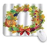 KENADVI マウスパッド 個性的 おしゃれ 柔軟 かわいい ゴム製裏面 ゲーミングマウスパッド PC ノートパソコン オフィス用 デスクマット 滑り止め 耐久性が良い おもしろいパターン (健康的な夕食の食材は赤いちょう結びの新鮮なオーガニックで花輪を収穫します)