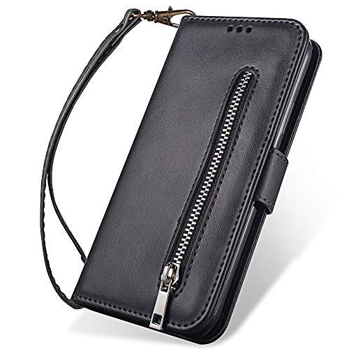 Chriffer Hülle für Xiaomi Redmi Note7 (Pro) Hülle, Xiaomi Redmi Note 7 (Pro) Handyhülle Leder PU Voller Schutz Schutzhülle Anti Fall und Kratzer mit Handschlaufe Brieftasche mit Kartenschlitz (Schwarz)