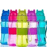Bottiglia per l'acqua Bambini con Cannuccia Senza BPA Tritan a Prova di perdite Bambino Bottiglia d'Acqua con Tracolla per Bambino, Scuola, Casa, Escursionismo e attività all'aperto (Rosa)