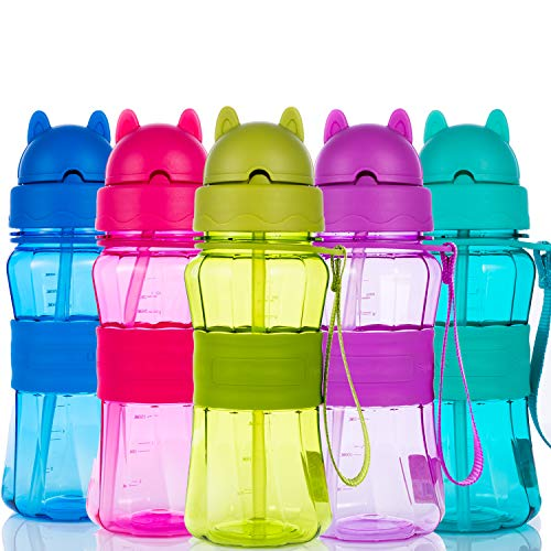 Sigdio Gourde pour Enfants Bouteille d'eau Enfant garçons et Filles avec Paille sans BPA Gourde Sport pour Maison, École et Activités extérieure (Violet)