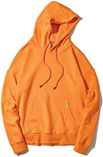 Sweatshirts Fall/Winter Men's and Women's Hooded Sweatshirts, Hip hop Couple Pullovers, with Kangaroo Pockets (Color : Orange, Size : M)