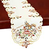 Simhomsen Embroidered Squirrel Table Runner for Thanksgiving, Fall or Autumn (14 × 69 inches)