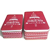 Christmas Cookie Tins with Lids for Gift Giving Empty Candy Snack Treat Swap Boxes Rectangle Shape Metal Containers for Goodies, Chocolate, Nuts and Home Storage, Cerebrate a Holiday Red