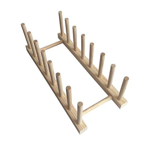 OUNONA Plato de madera Estante de madera Soporte de la exhibición Sostenedor de la placa Secador