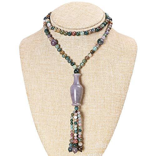 Pulsera de aleación, collar de feng shui, ágata verde natural, cornalina, multicolor, collar de cristal de múltiples capas para curar, colgante de jarrón antiguo, borla, collar vintage, atraer
