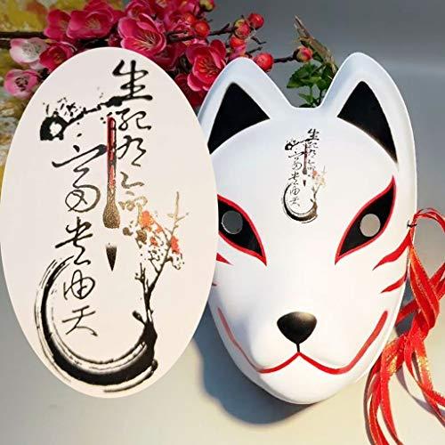 Mascara de baile Máscara de zorro pintada con máscara, máscara de media cara para niños, máscara de máscara masculina y femenina de rostro completo para adultos, máscara de zorro japonés mascara facia