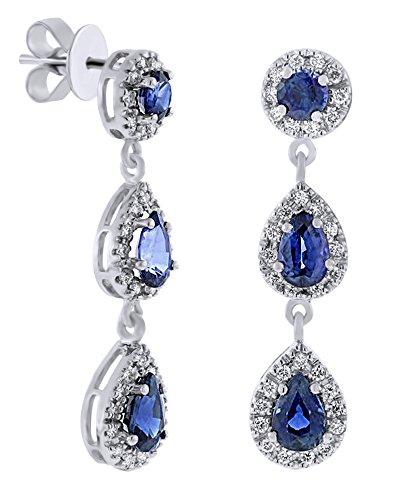 Orecchini pendenti in oro bianco massiccio 585 da 14 ct a forma di pera e taglio rotondo con zaffiri blu con diamante naturale e Oro bianco, colore: bianco, cod. UK-M-CME14748-WG