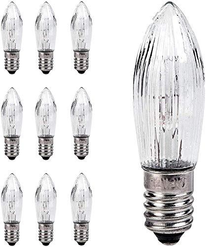 LED Lampen,10 Stück Konische Kerzen und LED-Ersatzlampen für Lichterketten und Kerzenbogen E10 3W,Glühbirnen Topkerze für Lichterkette,Kleine Glühbirnen (3W 34V)