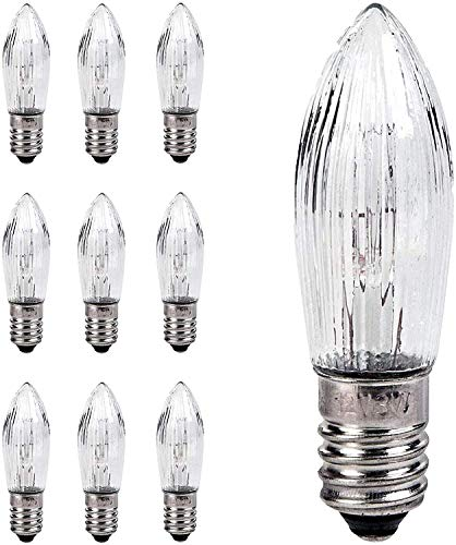 Bombillas LED, 10 unidades, velas cónicas y lámparas de repuesto LED para cadenas de luz y arco de vela E10 3W, bombillas para cadena de luces, bombillas pequeñas (3 W 34 V)