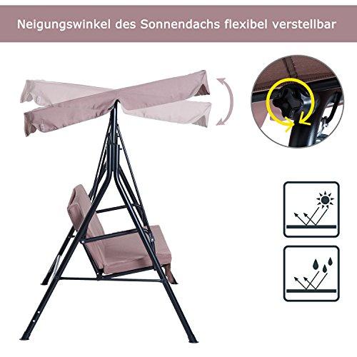 Outsunny Hollywoodschaukel Gartenschaukel Schaukelbank 3-Sitzer mit Dach Stahl Braun 172x110x152cm - 3
