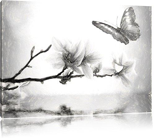 Pixxprint Schmetterling mit Magnolien-Blüte als Leinwandbild/Größe: 100x70 cm/Wandbild/Kunstdruck/fertig bespannt